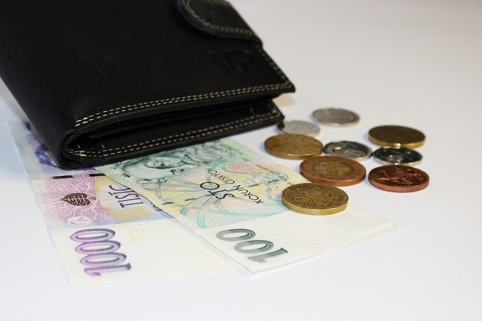 peněženka s korunami